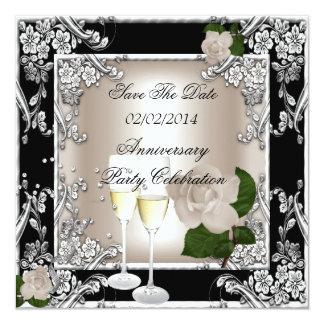 Save The Date Anniversary Wedding Cream Black 5.25x5.25 Square Paper Invitation Card