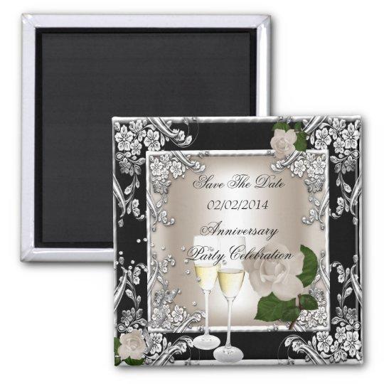 Save The Date Anniversary Wedding Cream Black Magnet