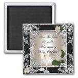 Save The Date Anniversary Wedding Cream Black Square Magnet