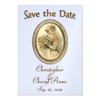 Save the Date Antique Bride Blue Magnetic Invitations