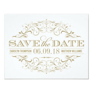Save the Date | Antique Gold and White Flourish 11 Cm X 14 Cm Invitation Card