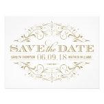 Save the Date | Antique Gold and White Flourish Custom Invite