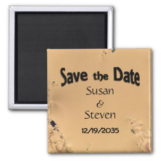 Save the Date Antique Gold Design Square Magnet