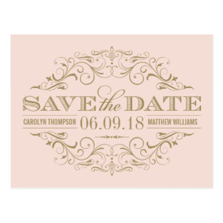 Save the Date | Antique Gold Flourish Postcard