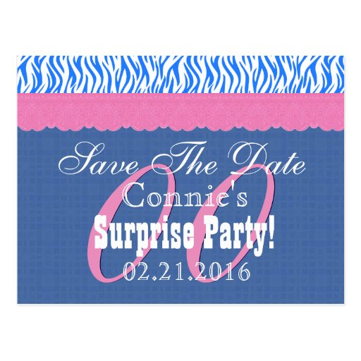 Save the Date Any Year Surprise Birthday Blue S12 Post Cards