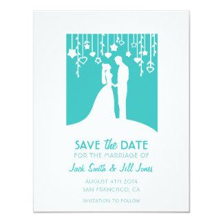 Save the date - aqua bride & groom silhouettes 11 cm x 14 cm invitation card