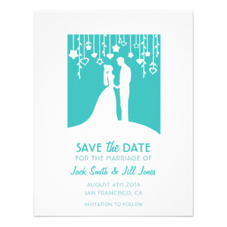 Save the date - aqua bride groom silhouettes custom announcement