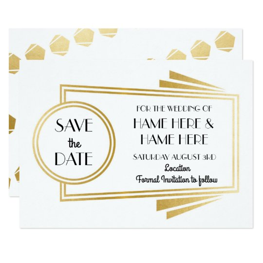 Save The Date Art Deco Wedding Party Gold