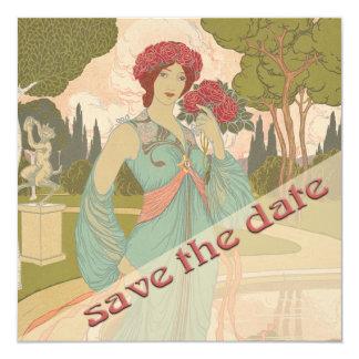 Save the Date, Art Nouveau 13 Cm X 13 Cm Square Invitation Card