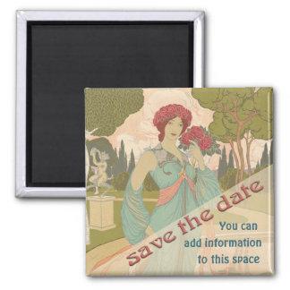 Save the Date, Art Nouveau Square Magnet