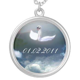 Save the date art pendant necklace, swans.