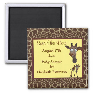 Save The Date Baby Shower Giraffes &  Animal Print Magnet