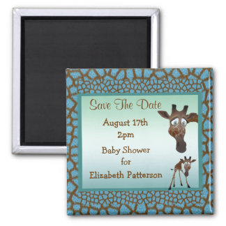 Save The Date Baby Shower Giraffes &  Animal Print Square Magnet