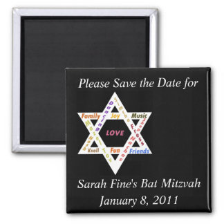 Save the date Bar or Bat Mitzvah Square Magnet