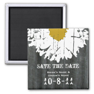 Save The Date - Barnwood & Daisy Square Magnet