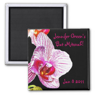 Save the date Bat Mitzvah Orchid Square Magnet