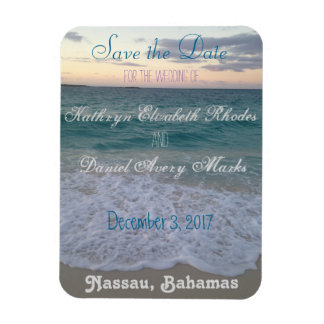 Save the Date Beach Wedding Rectangular Photo Magnet