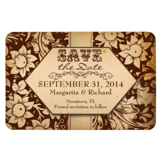 save the date beautiful vintage brown magnets