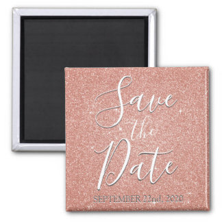 Save the Date Birthday Rose Gold Pink Glitter Magnet