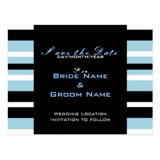 SAVE THE DATE BLACK AND BLUE Postcard