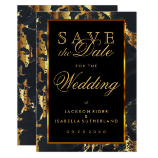 Save the Date Black and Gold Marble 13 Cm X 18 Cm Invitation Card