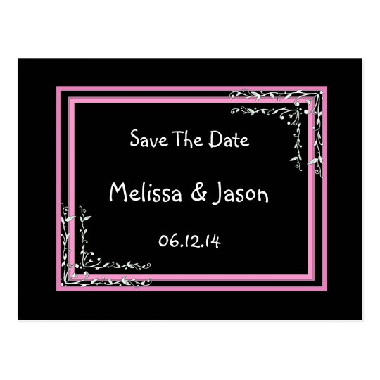 SAVE THE DATE - Black and Pink - Scroll Work Postcard