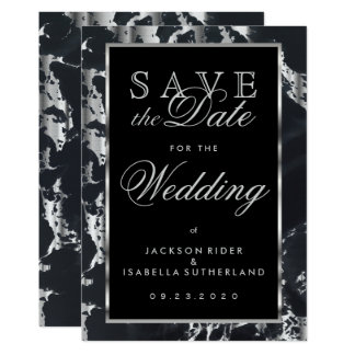 Save the Date Black and Silver Marble 13 Cm X 18 Cm Invitation Card