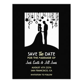 Save the date - black and white bride groom custom invitations