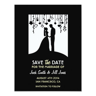"""Save the date - black and white bride & groom 4.25"""" x 5.5"""" invitation card"""