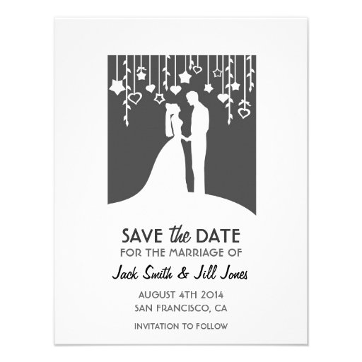 Save the date - black and white bride & groom personalized invitation