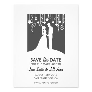 Save the date - black and white bride groom personalized invitation