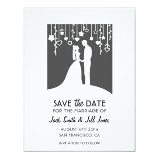 Save the date - black and white bride & groom 11 cm x 14 cm invitation card