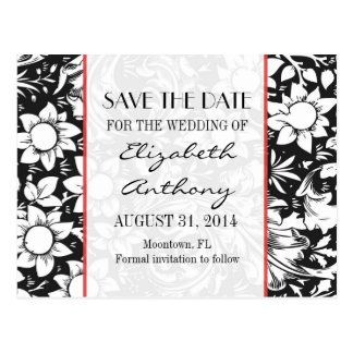 save the date black and white damask postcards