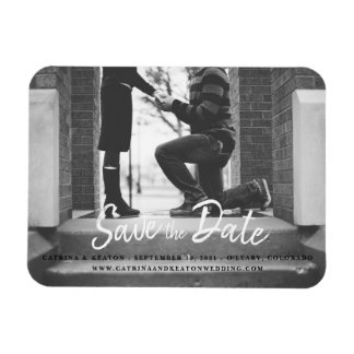 Save the Date Black and White Photo Print Template Magnet