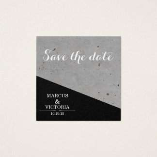 Save The date Black and White Urban Wedding Square Business Card