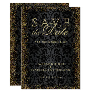 Save the Date Black Damask and Gold Confetti Glitt 13 Cm X 18 Cm Invitation Card