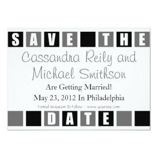 "Save The Date (Black / Gray Square Boxes) 5"" X 7"" Invitation Card"