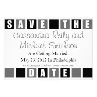 Save The Date Black Gray Square Boxes Invitations