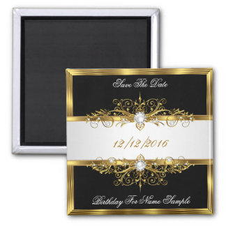 Save The Date Black Pearls White Gold Birthday Square Magnet