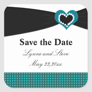 Save the Date Black Sash Teal Bow Square Sticker