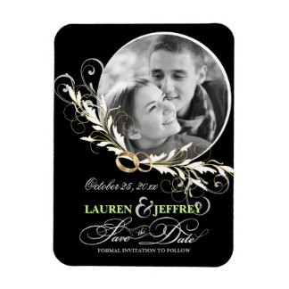 Save the Date Black White Wedding Photo Magnets