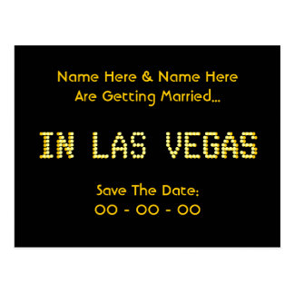 Save The Date. Black & Yellow.  Las Vegas Wedding. Postcard