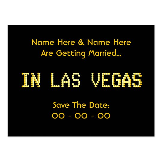 Save The Date. Black & Yellow. Las Vegas