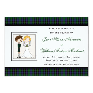 Save the Date Blair Modern Tartan Bride & Groom 9 Cm X 13 Cm Invitation Card