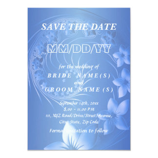 Save the Date - Blue Abstract Flowers 11 Cm X 16 Cm Invitation Card