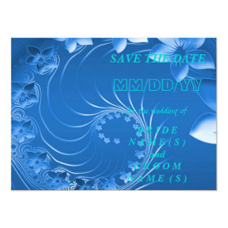 Save the Date - Blue Abstract Flowers 17 Cm X 22 Cm Invitation Card