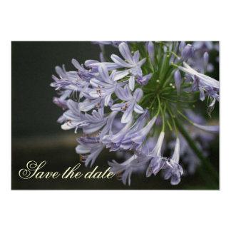 Save the date Blue Agapanthus metallic template 13 Cm X 18 Cm Invitation Card