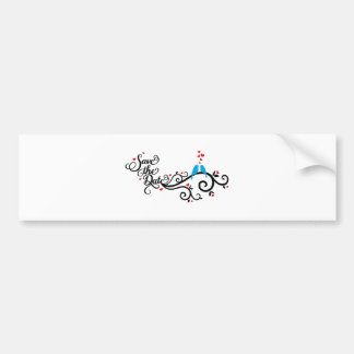 Save the date, blue birds on swirl with red hearts bumper sticker