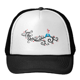 Save the date, blue birds on swirl with red hearts mesh hat