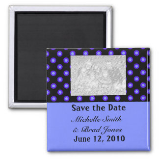 Save the Date blue black Square Magnet